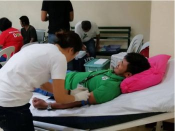 One of the SBGHMCI employees donating blood during the blood-letting activity. (Contributed photo)