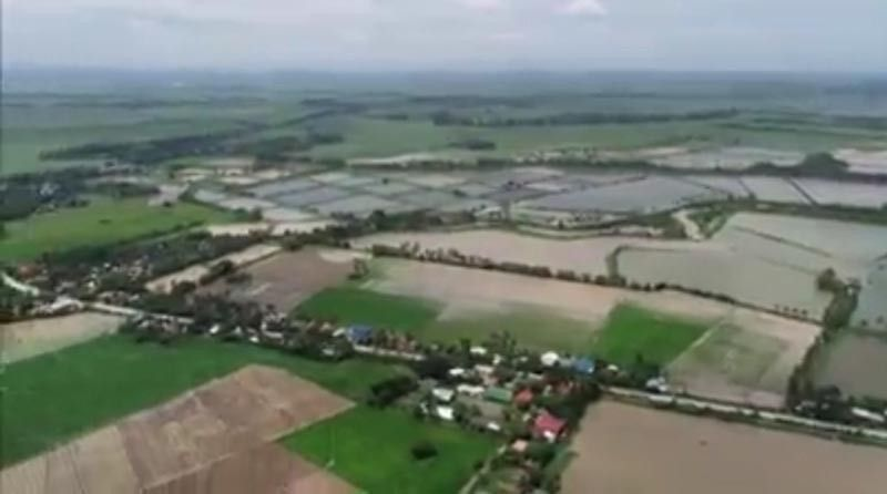NEGROS. A screen shot of the video taken by the Office of the Provincial Agriculturist showing the flooded rice fields in Valladolid town in Negros Occidental during the recent onslaught of Tropical Storm Falcon. (Contributed photo)