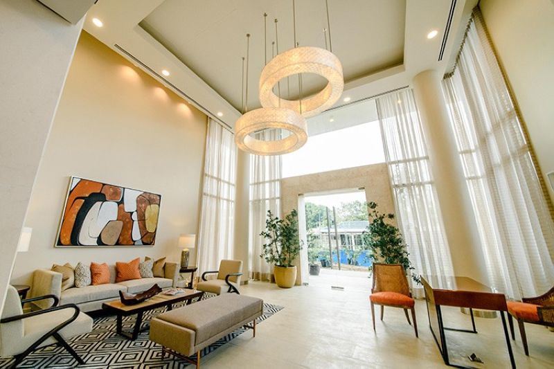 With Buri Lobby's double height ceiling and warm tones, residents are ushered into an oasis of calm.