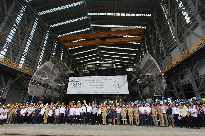 BALAMBAN SHIPYARD. Top executives and the team of Australian shipbuilder Austal Philippines, with Cebu Gov. Gwendolyn Garcia and Balamban government officials as special guests, launch Wednesday, July 24, 2019, the John Rothwell Assembly Bay in Balamban town, Cebu. Austal Philippines is licensed to build naval ships in Balamban town now that its shipyard has been expanded. (SunStar Photo/Amper Campaña)
