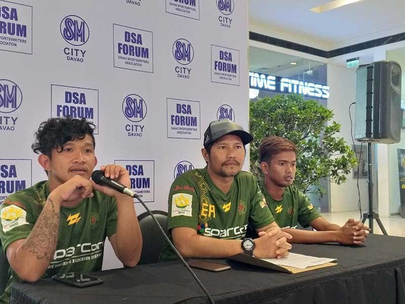DAVAO. Davao Pangulo Futbol Club co-captain Ed Merill Walohan, left, says during the Davao Sportswriters Association (DSA) Forum at The Annex of SM City Davao, Thursday, July 25, 2019 that they are confident as the team competes in the Philam Life 7s Kampeon Cup set this weekend in Taguig City. (Marianne L. Saberon-Abalayan)
