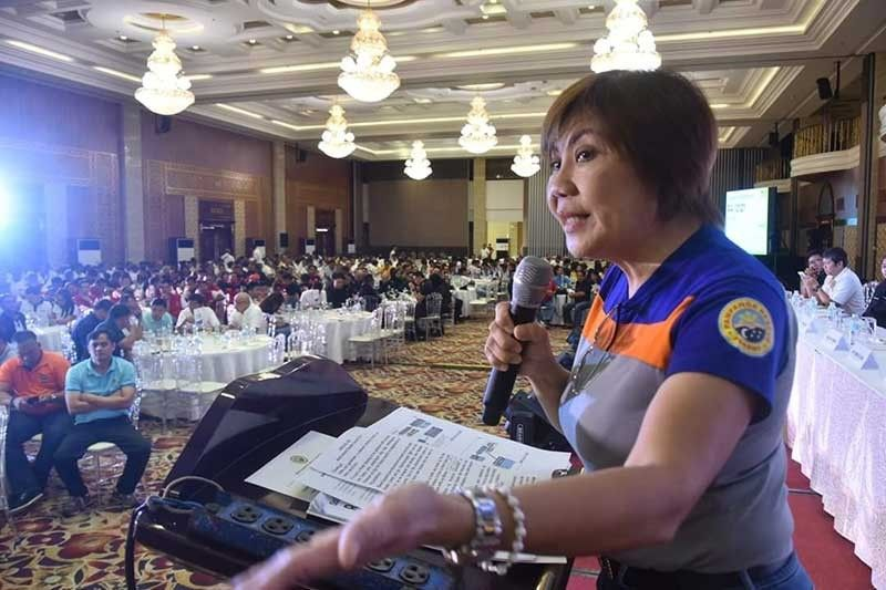 DRRM BUDGET. PDRRMO Chief Angeline Blanco explains the appropriate usage of the DRRM budget for proper response to disasters and calamities during the Multi-Hazard Disaster Summit 2019, held at Kingsborough International Convention Center on Wednesday. (Photo by Jun Jaso)