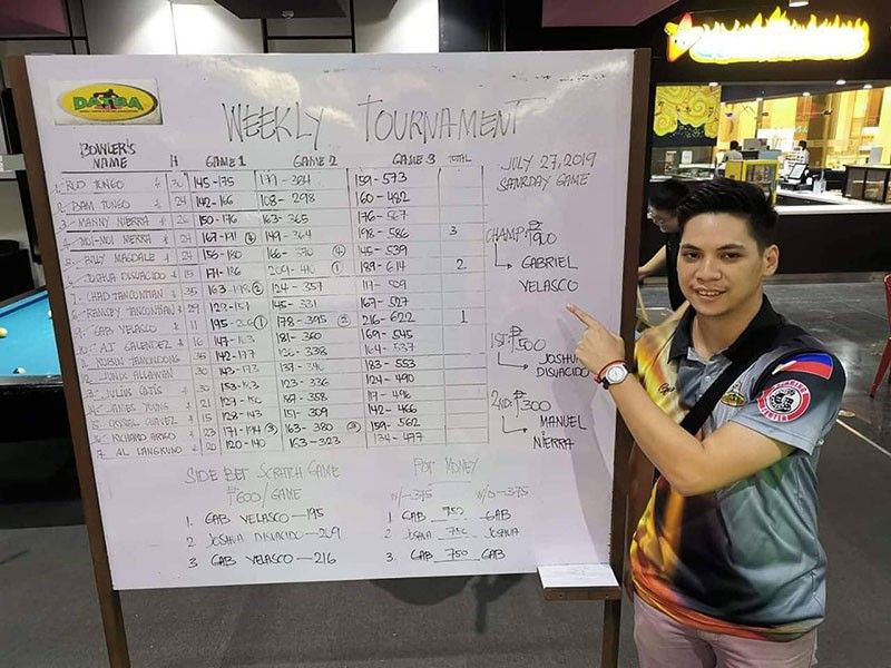 DAVAO. Gabriel Velasco wins the Datba Weekly Singles Tournament held Saturday evening at the SM Lanang Premier Bowling Center. (Jesrael Rule)