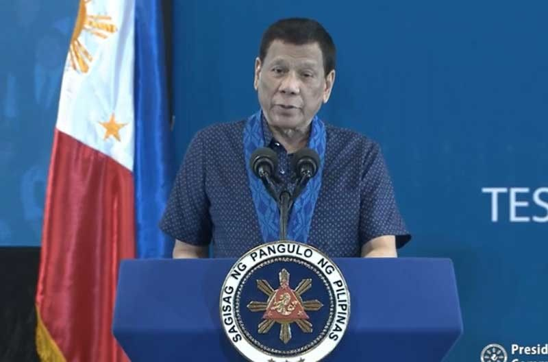 MANILA. President Rodrigo Duterte speaks during the launching of 911 TESDA in Taguig City on July 30, 2019. (Photo from presidential video)