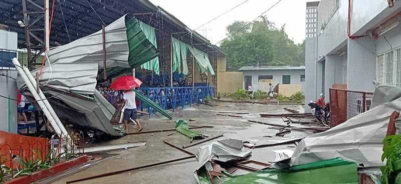 PAMPANGA. A portion of the Magalang Institute was damaged by a tornado which hit two Magalang villages on Monday afternoon, July 29, 2019. Seven individuals were also reportedly hurt. (Photo from FB page of Neil Angelo Sicat)