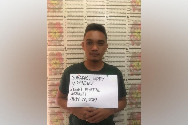 DAVAO. Patrolman Jerry Gilvero Gumapac, 37, was arrested on July 27, 2019 for allegedly mauling a civilian inside a cockpit in Davao City. (Photo courtesy from Police Regional Office-Davao)