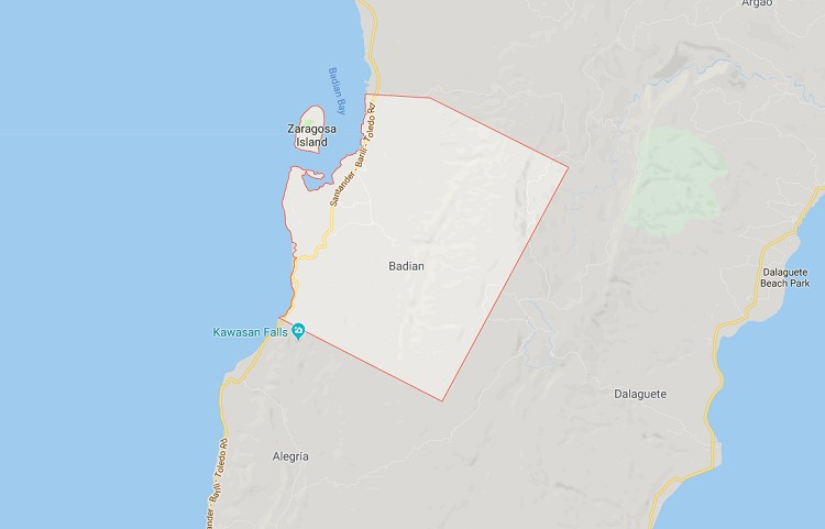 Mapa sa Badian. (Google Maps)