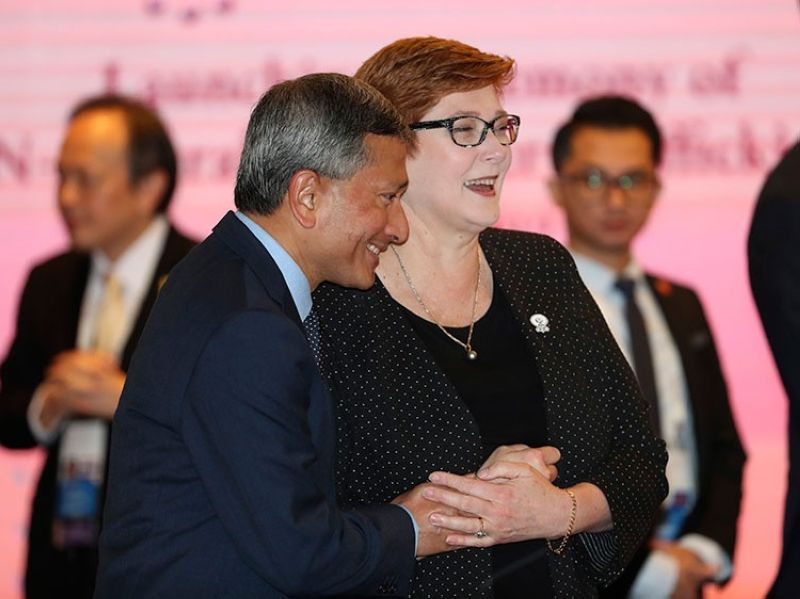 AUSTRALIA. Australia's Foreign Minister Marise Payne (right) shares a light moment with Singapore's Foreign Minister Vivian Balakrishnan during foreign ministers' meeting of the Association of Southeast Asian Nations in Bangkok, Thailand, Thursday, August 1, 2019. (AP)