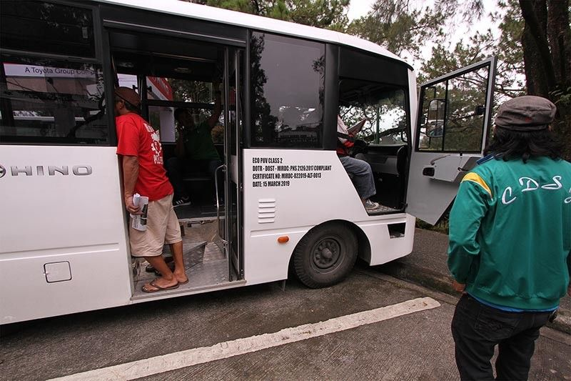 BAGUIO. Different manufacturers present their new models for the transport modernization program during the Public Utility Vehicle Caravan in Baguio City Hall Tuesday, July 30, 2019. These models are all Euro 5 compliant. (Jean Nicole Cortes)