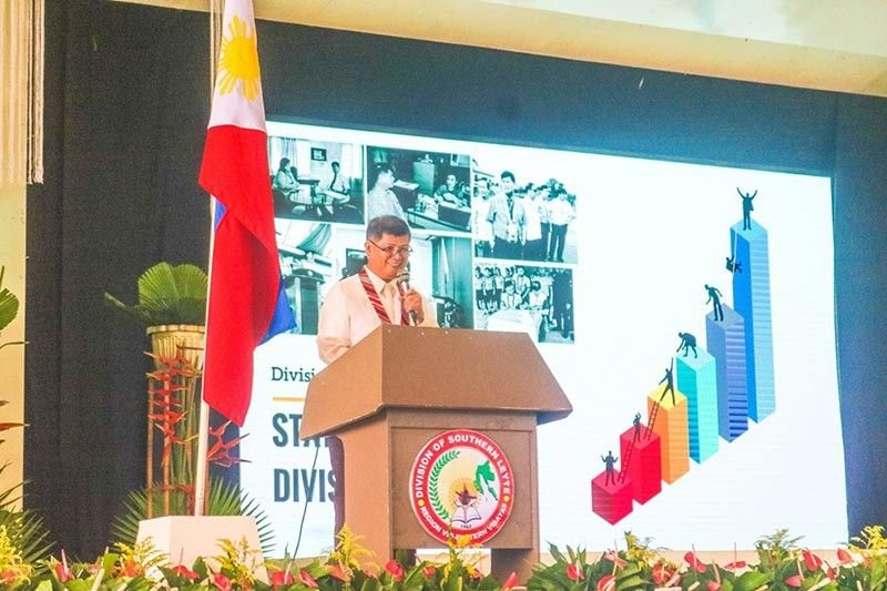 SOUTHERN LEYTE. Dr. Genis Murallos, schools division superintendent of Southern Leyte, delivers his State of the Division Address 2019. (Photo courtesy of Lyna Gayas)