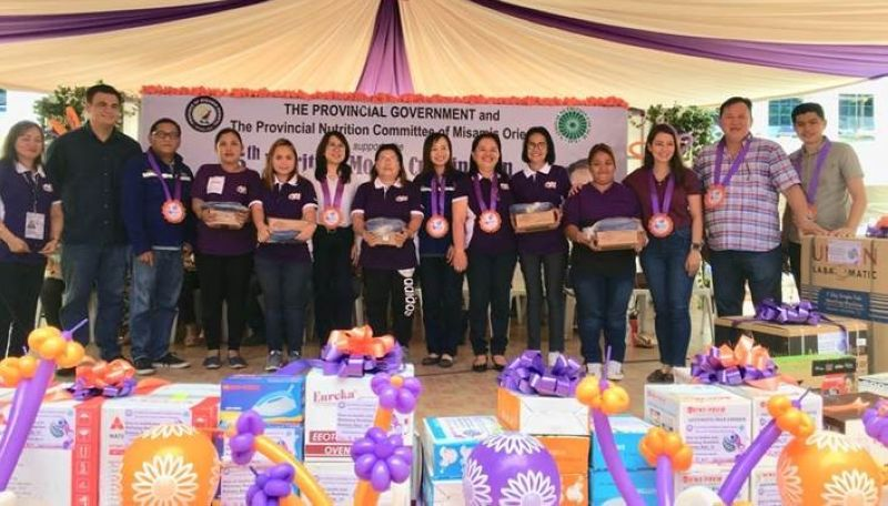 CAGAYAN DE ORO. Misamis Oriental's nutrition program gets a boost following receipt from energy-firm STEAG State Power Inc. (SPI) of five salter scale benefitting the towns of Tagoloan, Villanueva, Magsaysay, Lagonglong, and Sugbongcogon. SPI Comrel manager Ghaye Alegrio (5th from left) led company officials in simple turnover rites at the capitol grounds during a culminating program commemorating July as nutrition month. (Contributed photo)
