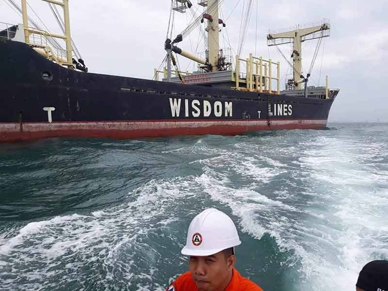 to the rescue. Mv Arikun, a foreign cargo vessel carrying 4,210 tons of wheat and 287, 167 liters of fuel, is towed to an anchorage area in Talisay City after it ran aground in the vicinity of Lauis Ledge. According to Lt. Junior Grade Michael John Encina of the Philippine Coast Guard, no one was hurt by the incident. (Contributed Photo/Philippine Coast Guard)