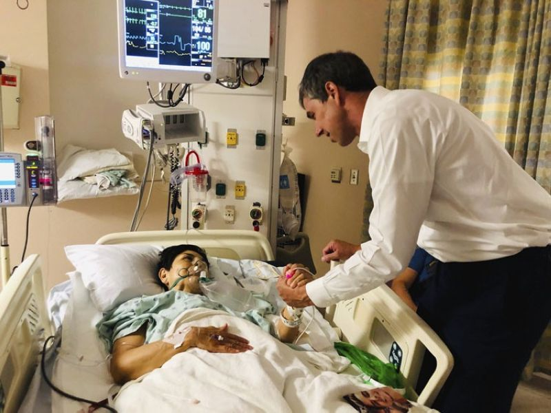 EL PASO, Texas. In this image provided by Beto O'Rourke's Facebook page, Presidential candidate and former congressman Beto O'Rourke, right, meets with mass shooting survivor, Rosemary, at University Medical Center in El Paso, Texas on Sunday, Aug. 4, 2019. A gunman opened fire in an El Paso shopping area during the busy back-to-school season Saturday, killing at least a dozen. (AP)