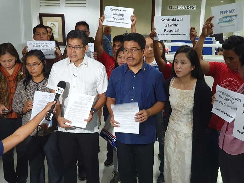 MANILA. Makabayan lawmakers file on August 5, 2019 their own version of a bill seeking to provide security of tenure by declaring all forms of contractualization illegal. (Photo by Ryniel Berlanga)