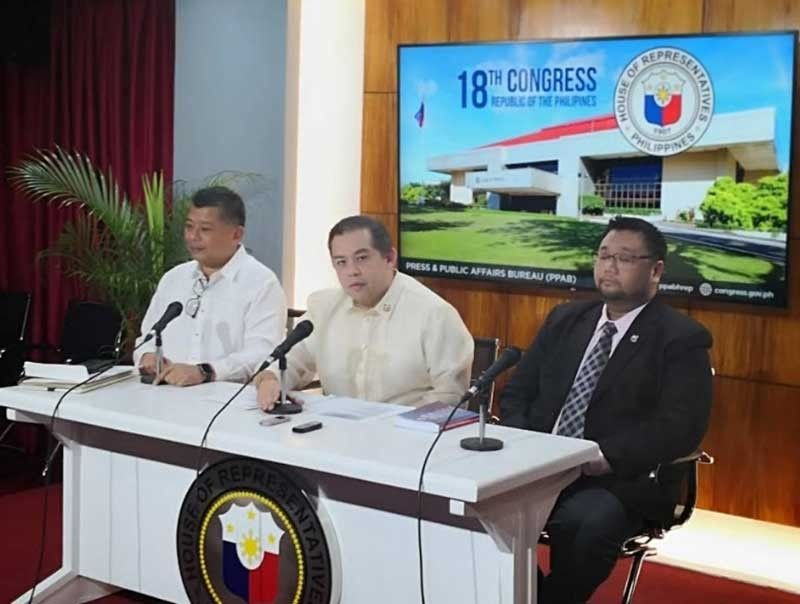 "MANILA. House Majority Leader Martin Romualdez holds the first press conference of the majority bloc on Tuesday, August 6, 2019. With him are Senior Deputy Majority Leader Jesus Crispin ""Boying"" Remulla and Deputy Majority Leader Wilter ""Sharky"" Palma. (Photo by Ryniel Berlanga/SunStar Philippines)"