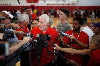 USA. In this July 26, 2018, file photo, head coach Gregg Popovich speaks with the media during a training camp for USA Basketball in Las Vegas. USA Basketball opened training camp Monday, August 5, 2019, for the FIBA World Cup, which starts August 31 in China. (AP)