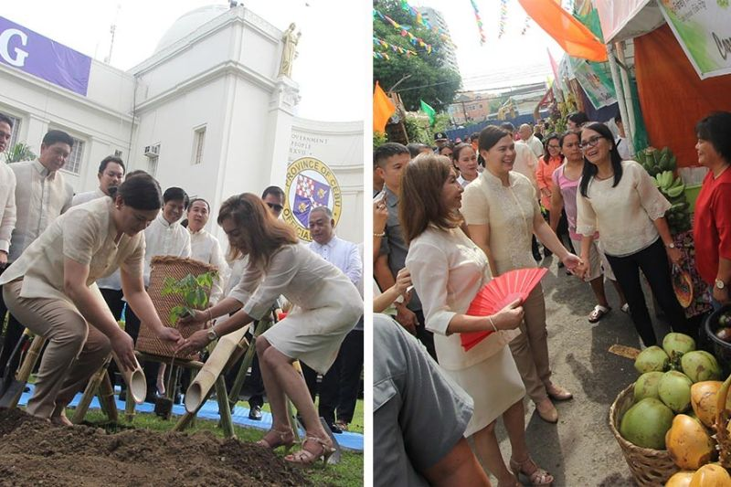 SISTERHOOD. Davao City Mayor Sara Duterte-Carpio (foreground, left) and Cebu Gov. Gwendolyn Garcia plant a narra seedling on the Capitol grounds during the 450th founding anniversary of Cebu Province on Tuesday, Aug. 6, 2019. After that, they proceeded to open the agro fair a few meters away. (SunStar photo / Amper Campaña)