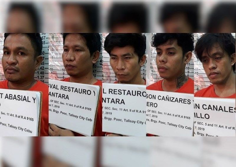 Five men, including a call center agent, were arrested in a drug bust in Barangay Pooc, Talisay City on Wednesday morning, August 6, 2019. (Contributed photo)