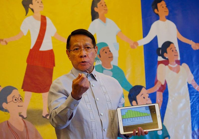 MANILA. In this April 30, 2019 file photo, Health Secretary Dr. Francisco Duque III displays a graph showing the decline of the measles outbreak in the country during a press conference during World Immunization Week 2019 in Manila. (AP)