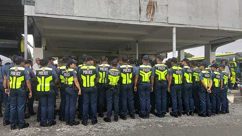 BACOLOD. Bacolod City Police Office personnel securing the South Ceres Terminal. (Photo courtesy of Bombo Ann Sindol Sorilla)
