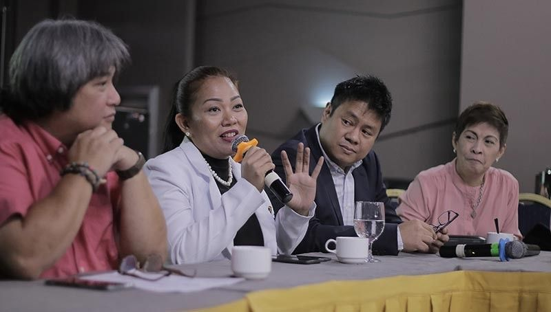 PAMPANGA. Dr. Jacqueline Angeles, medical director, and Dr. Almario Jabson, president and chief executive officer of The Medical City Clark (TMCC), answers questions from the media during Pampanga Press Club's Talk Widus monthly forum at Widus Hotel and Casino. With them are PPC president Deng Pangilinan and TMCC Sales and marketing director Evelyn Yumul. (Photo courtesy of Evelyn Yumul)
