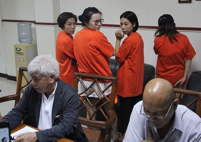 CEBU. The four Chinese women who were arrested for alleged sexual trafficking. (Amper Campana)