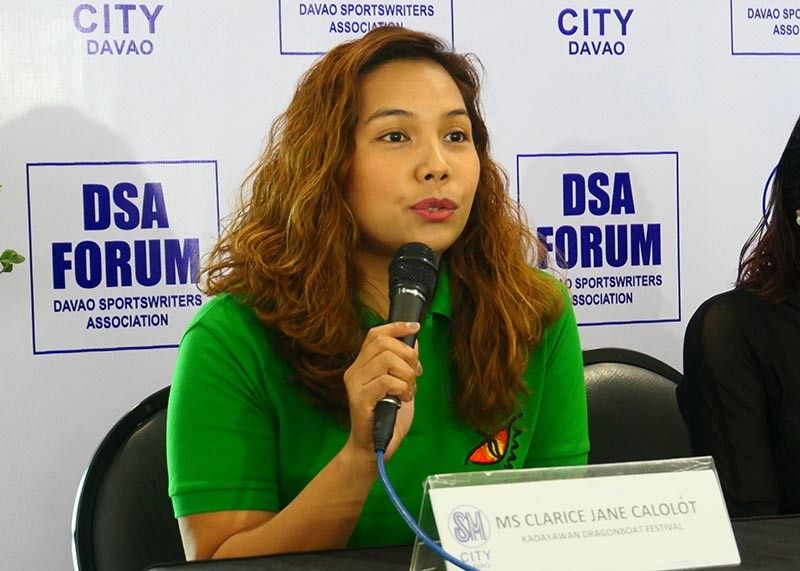 DAVAO. Organizer Clarice Jane Calolot, during the Davao Sportswriters Association (DSA) Forum at The Annex of SM City Davao Thursday, August 8, 2019, said Dabawenyos could expect of great battles ahead in the 34th Kadayawan Dragon Boat Festival 2019 slated Saturday and Sunday, August 10 and 11, at the Sta. Ana Pier. (Seth Delos Reyes/SDD-CMO)
