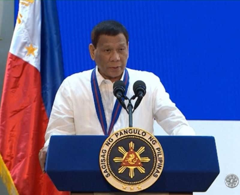 MANILA. President Rodrigo Duterte speaks during the 118th Police Service Anniversary in Camp Crame on August 9, 2019. (Photo from presidential video)