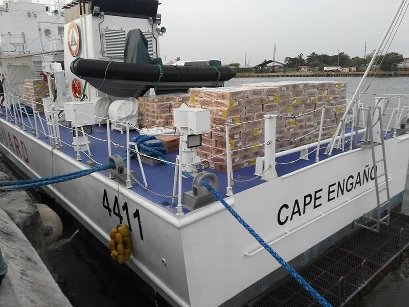 ILOILO. The Philippine Coast Guard's BRP Cape Engaño is set to deliver boxes of food packs of residents of Carles town who have been isolated for almost a week now due to inclement weather. (Leo Solinap)