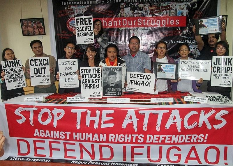 BAGUIO. Members of progressive organizations being labelled as allies of the rebel groups condemned the attempted murder of Brandon Lee, a human rights worker in Ifugao who is recuperating in a hospital days after he was shot by unknown assailant. (Photo by Jean Nicole Cortes)