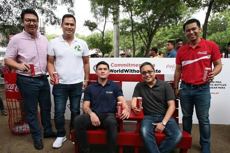 "DAVAO. In this photo (seated from left) are:  Davao City Vice Mayor Sebastian ""Baste"" Duterte and Juan Lorenzo Tañada, corporate and regulatory affairs director; (Standing from left) Marc Cox, stakeholder relations manager, Coca-Cola Beverages Philippines, Inc., Winchester Lemen, owner, Winder Recycling, and John Reyes, regional sales manager, North Central Davao, Coca-Cola Beverages Philippines, Inc. (Contributed Photo)"