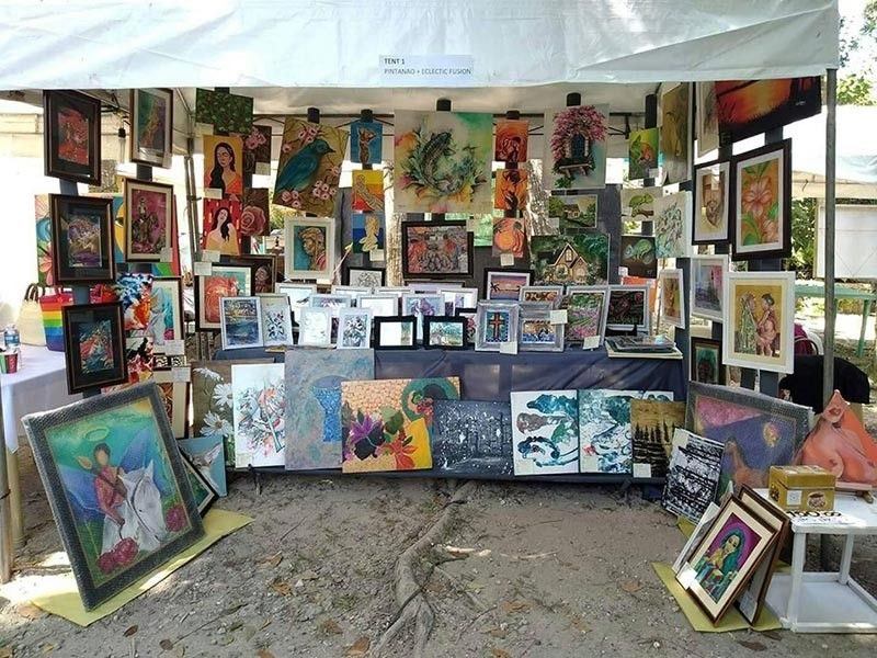 DAVAO. Paintings and art works displayed in one of the booths during Art Hunt Davao 2019. (Photo from Pinatanao Facebook)