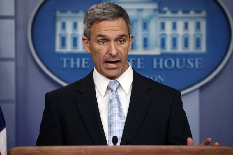 WASHINGTON. Acting Director of United States Citizenship and Immigration Services Ken Cuccinelli, speaks during a briefing at the White House, Monday, August 12, 2019, in Washington. (AP)