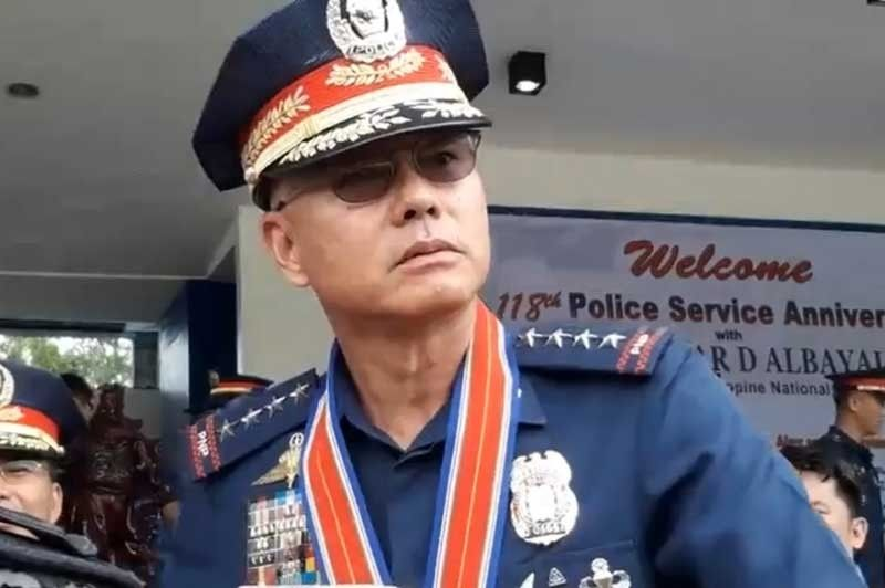 MANILA. Philippine National Police Chief Oscar Albayalde is interviewed by the media on August 13, 2019. (Photo from PNP video)