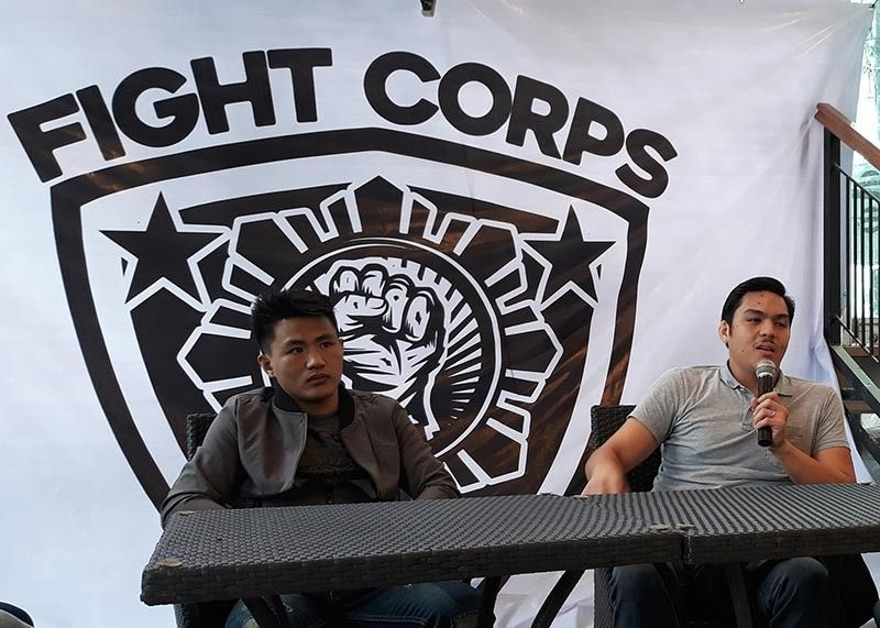 WHAT LIES AHEAD. Nico Tabora (with mic) and Dave Bangguigui of Fight Corps MMA gives update on their plan following Bangguigui's win in Rich Franklin's ONE Warrior Series (OWS) recently. (Photo by Roderick Osis)