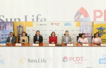 (from left) Sun Life chief information technology head Teodoro Pineda; Sun Life chief marketing officer Mylene Lopa; Sun Life chief executive officer and country head Benedict Sison; PLDT Global president and chief executive officer Katrina Luna-Abelarde; PLDT Global chief commercial officer Albert Villa-Real; ShareTreats innovation head of partnership Vanessa Lee Cartera; and PLDT Global head of e-Commerce Mary Anne Bundalian