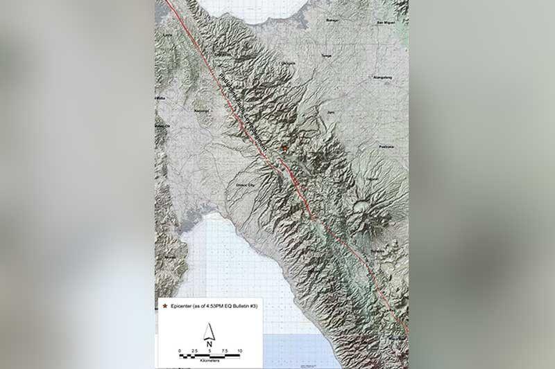 FAULT LINE: Ang mapa sa Philippine Institute of Volcanology and Seismology (Phivolcs) nagpakita sa