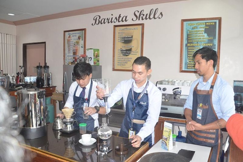 BAGUIO CITY. Barista students from the Baguio City School of Arts and Trade give a demonstration on preparing brewed coffee during the TESDA-CAR-led Kapihan media forum that promoted the scheduled activities for TESDA's 25th Anniversary, highlighted by the