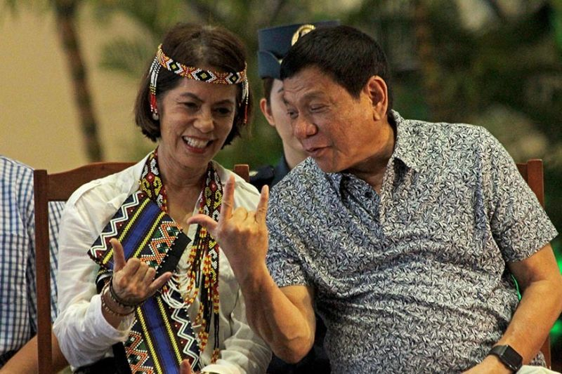 DAVAO. This file photo shows former Environment secretary Gina Lopez sharing a light moment with President Rodrigo Duterte in an event in Davao City in August 2016. Lopez passed away Monday, August 19, 2019, at the age of 65 after losing her battle with brain cancer. (Macky Lim)