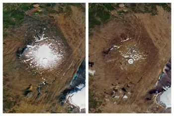 ICELAND. This combination of September 14, 1986, left, and August 1, 2019 photos provided by NASA shows the shrinking of the Okjokull glacier on the Ok volcano in west-central Iceland. A geological map from 1901 estimated Okjökull spanned an area of about 38 square kilometers (15 square miles). In 1978, aerial photography showed the glacier was 3 square kilometers. in 2019, less than 1 square kilometer remains. (AP)