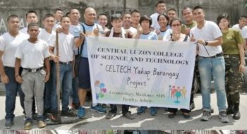 "PAMPANGA. The ""Celtech Yakap Barangay Project"" and cleanup drive was recently participated in by members of 301st Maneuver Company, RMFB3 together with the faculty and students of Central Luzon College of Science and Technology and barangay officials of Barangay Lourdes, City of San Fernando, Pampanga. (Contributed Photo)"