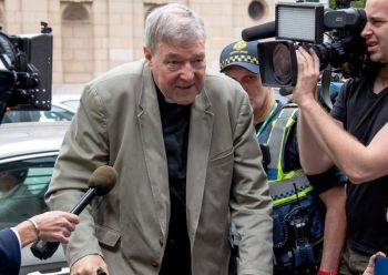 "MELBOURNE, AUSTRALIA. In this February 26, 2019, photo, Cardinal George Pell leaves the County Court in Melbourne, Australia. Pell's lawyers argued in his appeal that there were more than a dozen ""solid obstacles"" that should have prevented a jury from finding him guilty beyond a reasonable doubt of molesting two choirboys. The appeal court will give their verdict on August 21. (AP)"