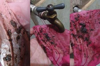 DAVAO. Anne Malinao posts photos on Facebook showing an undetermined object coming from her faucet in her house at Indangan. (Photo courtesy of Anne Malinao)