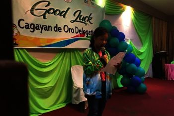 "CAGAYAN DE ORO. Chess sensation Ruelle ""Tawing"" Canino, the country' s youngest Fide Woman Master, tells fellow Batang Pinoy athletes of Cagayan de Oro to be grateful always. (Contributed Photo)"