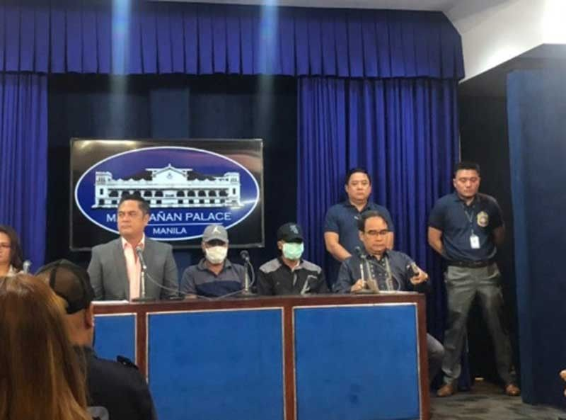 MANILA. Helario Lapi Jr. and Lapi and Renato Sardonsillo, witnesses in the killing of Kidapawan City radio anchor Eduardo Dizon,  are presented before the media during a press conference in Malacañang on Thursday, August 22, 2019. (Photo by Ruth Abbey Gita/SunStar Philippines)