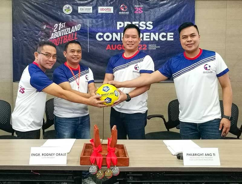 READY FOR THE NEW SEASON. Central Visayas Football Association officials (from let) Jose Ceniza, Rodney Orale with AboitizLand officials Philbright Ang Ti and Carlo Tenerife during the launching of the 21st AboitizLand Cup. (SunStar Photo/Arni Aclao)