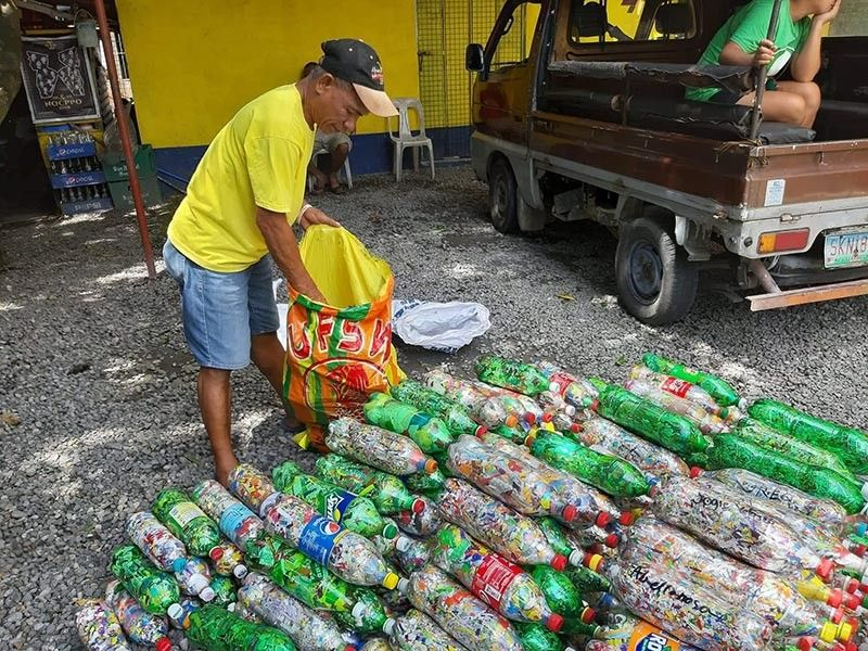 NEGROS. The volume of bottle bricks gathered at Brgy. Zone 10 barangay hall have increased since the program inception in July 2019. (Contributed photo)