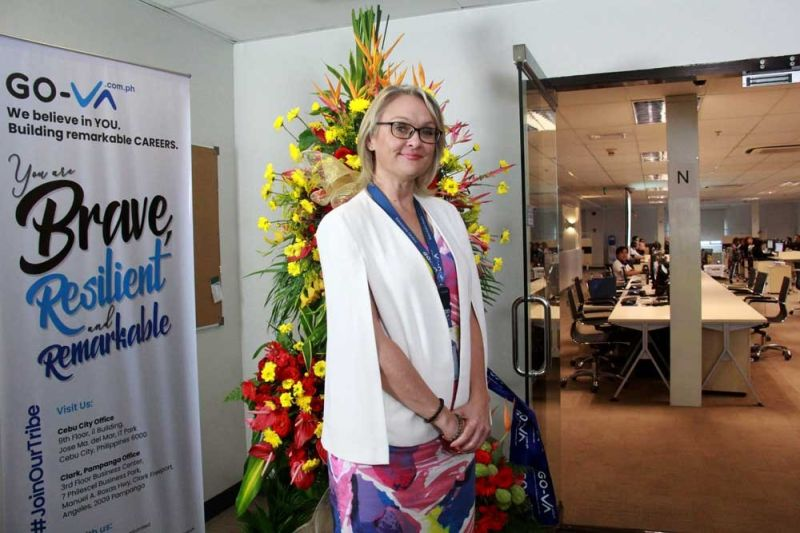 BLESSING. Fiona Kesby, chief executive officer of Go-Virtual Assistants Inc., says the blessing of their new office on the ninth floor of i1 Building at the Cebu IT Park in Cebu City Friday, Aug.23, 2019, comes as the company's clientele grows. (SUN.STAR FOTO / AMPER CAMPAÑA)