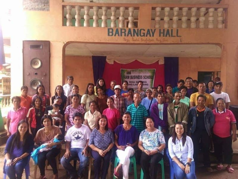 BACOLOD. Chief Agrarian Reform Program Officer - Program Beneficiaries Development Division Edna Villaruel (seated, center) with farmer-members of Santol Agrarian Reform Association during the launching of the farm business school program at Barangay Santol in Binalbagan town on August 22, 2019. (Contributed Photo)