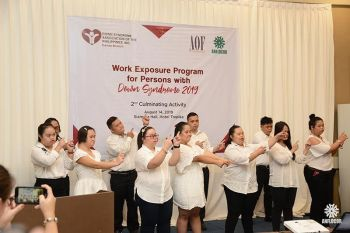 Interns performed a special performance number for the guests during the culminating activity of the Work Exposure for Down Syndrome. (Photo by Anflocor)